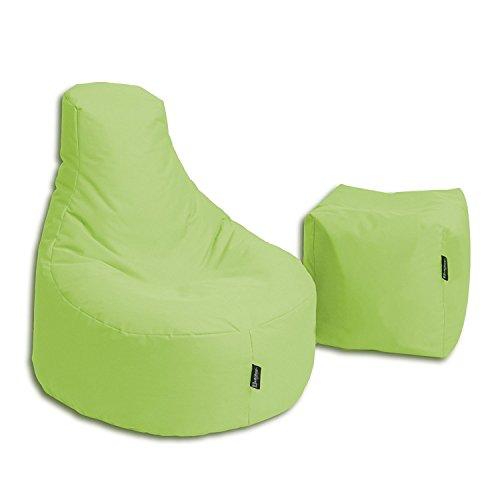 BuBiBag Sitzsack Stillkissen Set Kissen Lounge Gamer Sitzsack Sessel original Sitzkissen In & Outdoor geeignet fertig befüllt in 32 Farben (Lime)