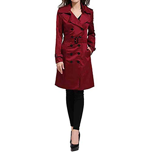 Komise Damen Winter Revers Zweireiher SlimLong Trenchcoat Mantel S-2XL 3 Farben (S=EU34, Rot)