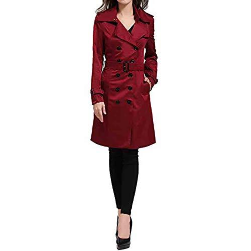 FRAUIT Damen Zweireiher Mantel Trenchcoat Herbst Winter Slim Fit Mantel Lässig Mode Jacke Frauen Womens Winter Casual Zipper solide Gesteppte Mantel Mit Gürtel S-2XL