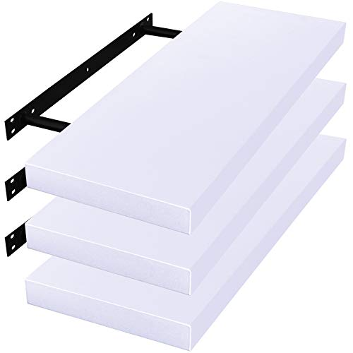 WOLTU Mensole da Muro Scaffale a Parete Decorazione per Cameretta Ufficio Libreria Porta CD/Dvd Legno Bianco 100cm 3 Pezzi