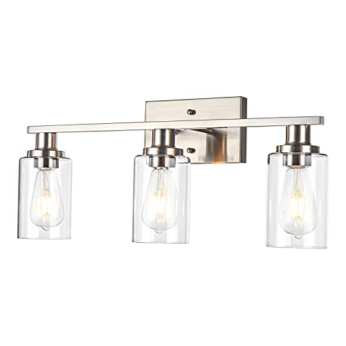 NSRCE 3-Light Bathroom Vanity Light Fixtures,Modern Wall Lighting with Clear Glass Shade,Brushed Nickel Finished Wall Sconce Lighting,Porch Wall Lamp for Mirror,Living Room,Bedroom,Hallway( E26 Base).
