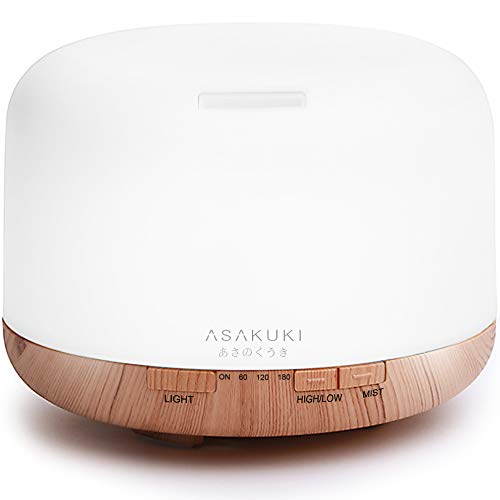 ASAKUKI 500ml Premium Essential Oil Diffuser, 5 In 1 Ultrasonic Aromatherapy Fragrant Oil Vaporizer Humidifier, Purifies The Air, Timer and Auto-Off Safety Switch, 7 LED Light Colors