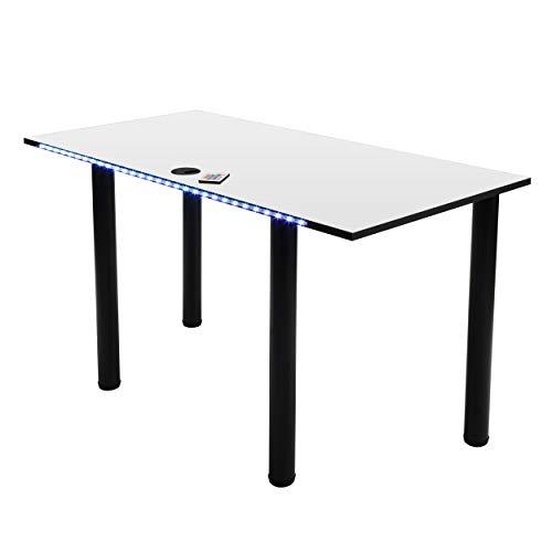 MÖBEL SYSTEM Gaming Schreibtisch mit LED Beleuchtung, Computertisch, Gamertisch, Kabelmanagementsystem/Kabeldurchführung - weiß