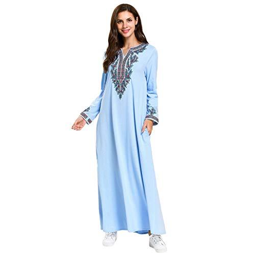 Lazzboy Muslimische Bedruckte Lange Robe Dünnes Maxi Abaya Kaftan Islamische Kleidung Stickerei Langarm Tunika Dubai Kleider Damen Maxikleid Abendkleid Muslim Knöchellang (Mehrfarbig,M)