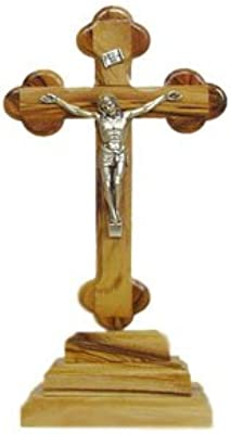 """Olive Wood Standing Cross with Crucifix (7.5"""")"""
