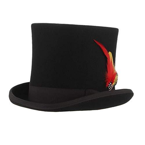 MARRYME Sombrero de Copa Hombre Mujer de 100% Lana de Fieltro Sombreros Fedora Sombrero Boda con Cinta Forro de Raso Invierno/Verano (XL/Circunferencia 60-62CM, Negro con Pluma)