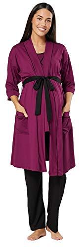 HAPPY MAMA Femme Maternité Ensemble Pyjama/Pantalon/Haut/Robe Chambre 558p (Prune & Noir, 46, 3XL)