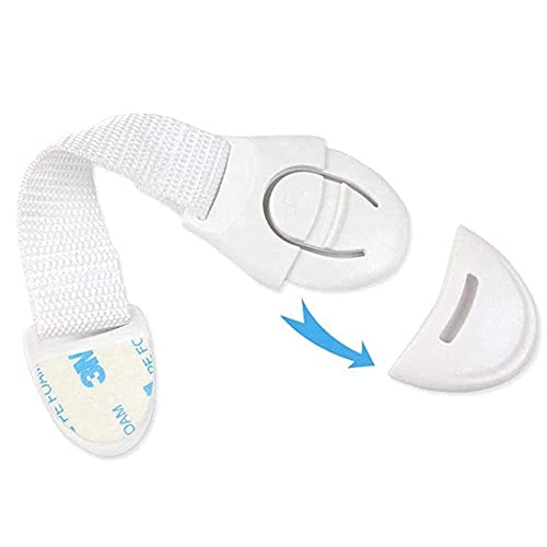 CarMa [10 Stück] Schranksicherung Schubladensicherung Kindersicherung Türsicherung mit Kunststoffband 3M Premium Kleber, ohne Bohren weiß