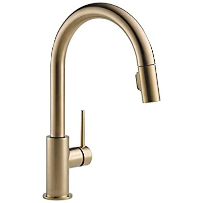DELTA Trinsic Single-Handle Kitchen Sink Faucet with Pull Down Sprayer and Magnetic Docking Spray Head, Champagne Bronze 9159-CZ-DST