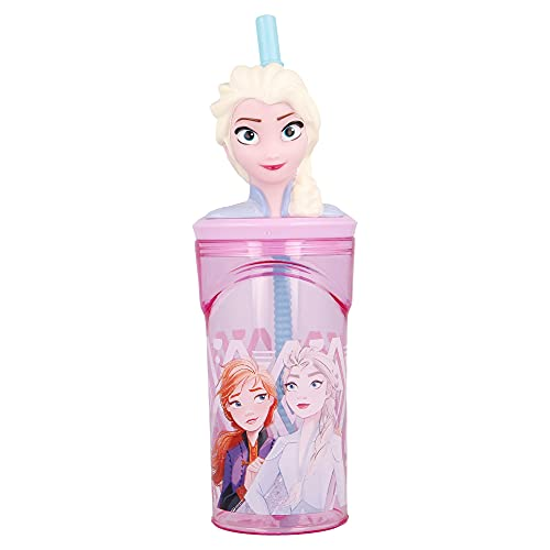 FROZEN 2   Vaso para niños de plástico con pajita y tapa- diseño infantil con figurita 3D y capacidad de 360 ML - sin BPA
