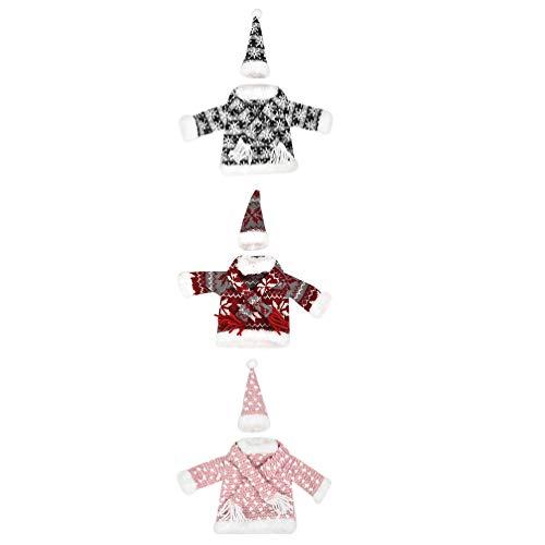 YARNOW Weihnachten Weinflasche Dekorationen Weihnachten Weinflasche Abdeckung Set Topper Kleidung Champagner Flasche Wrap Urlaub Esszimmer Küche Dekorationen 3 Set