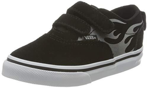 Vans Jungen Unisex Baby Doheny V-Velcro Sneaker, (Suede Flame) Black/White, 24.5 EU