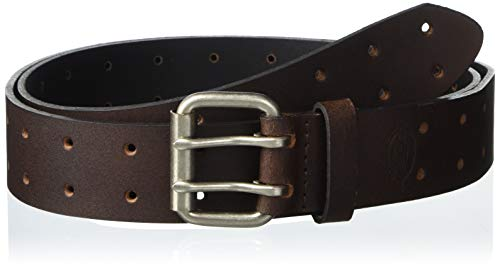 Dickies Men's Leather Double Prong Belt, Brown, 36 (Waist: 34)