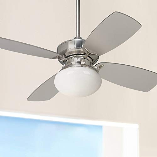 """36"""" Outlook Modern Contemporary Small Ceiling Fan with Light LED Dimmable Brushed Nickel Silver Blades Opal Glass for House Bedroom Living Room Home Kitchen Family Dining Office - Casa Vieja"""