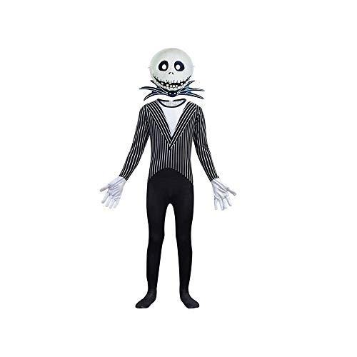 Amatop Jack Skellington The Nightmare Before Christmas Jack Skellington Costume Pinstripe Halloween Cosplay para Hombres niños niños, con Accesorios