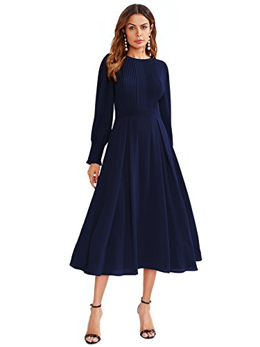 DIDK Damen Plissee Kleider Rundhals A Linie Faltenkleid Elegant Langarm Midi Kleid mit Reißverschluss Marineblau M