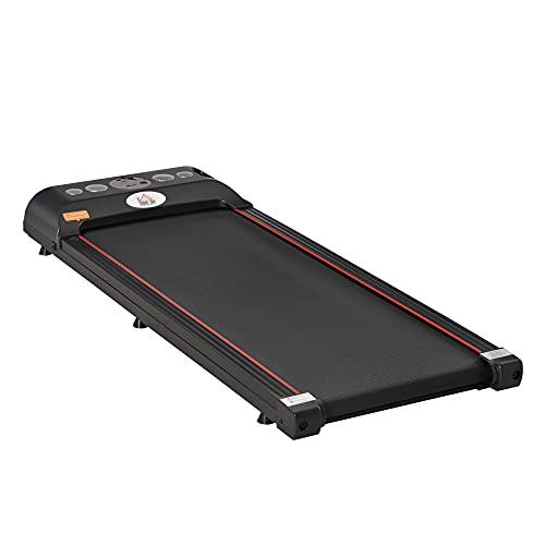 HOMCOM Tapis de Marche Fitness électrique - 1 à 6 Km/h - écran LED Multifonctions + télécommande - 500 W - Acier Rouge Noir