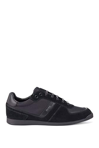 BOSS Herren Glaze Lowp Lowtop Sneakers aus Leder, Veloursleder und Material-Mix Größe 41