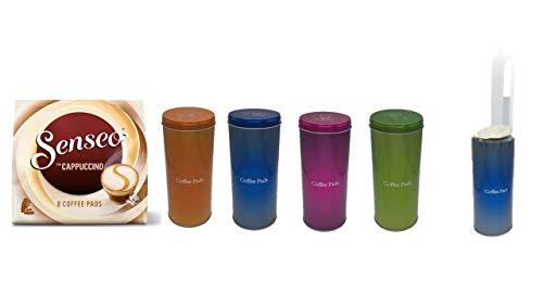 James Premium Geschenkset Muttertag Cappuccino + Kaffeepaddose 18 Pads mit orange blau pink grün Aktion + 4 PADHEBER