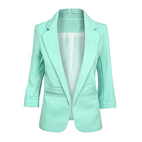 LaoZan Risvolto Slim Fit Cardigan Manica 3/4 Blazer Donna Elegante Casual Giacche da Abito (Verde Chiaro,Asia S)