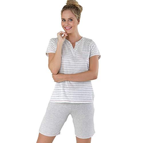 Massana Pijama de Manga Corta de Mujer P211213 - Gris Vigore, XL