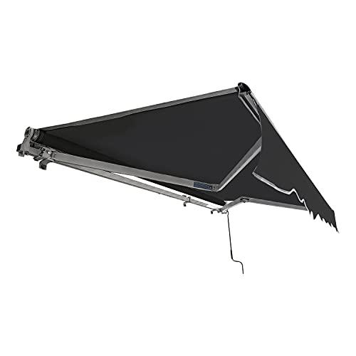 TolleTour manuelle Gelenkarmmarkise, Aluminium Gelenkarm Markise, 3,5 x 3 m, Sonnenschutz UV-beständig und wasserfest, mit Handkurbel, Neigungswinkel bis 30 Grad, für Balkon und Veranda, Grau