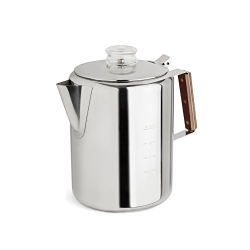 TOPS 55705 Rapid Brew Stainless Steel Stovetop Coffee Percolator, 12-Cup, Metallic