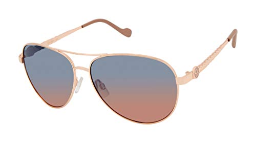 Jessica Simpson Contemporary Aviator Sunglasses with Enamel Logo, Textured Metal Leaf Designed Temple & 100% UV Protection, Rose Gold & Nude, 60 mm