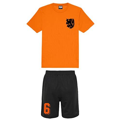Print Me A Shirt Niños Personalizables Equipo de fútbol Holanda Nederlands Estilo Camiseta de fútbol y Pantalones Cortos en casa (Naranja eléctrico)