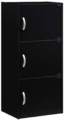 HODEDAH IMPORT 3-Shelf Bookcase Cabinet, Black