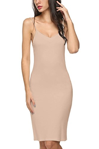 Avidlove Damen Unterkleid Frauen Unterröcke Nachthemd Nachtwäsche sexy Negligee Miederkleid mit Trägern Shapewear Kleider, Hautfarbe, L(44-46)