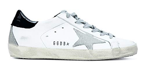 Golden Goose Damen Sneakers Leder Super Star Frances Casual Sport Schuhe, Black-Metal - Größe: 41 EU