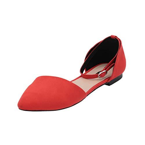 ONLY onlAGATHA-3 Ballerina Damen Ballerinas Rot Slippers Espadrilles Loafer, Größe:EUR 39