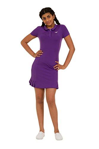 Bace Girls Purple Polo Tennis Dress Pleated Tennis Dress Junior Netball Dress Golf Dress Sportswear (4-5 Year Old)
