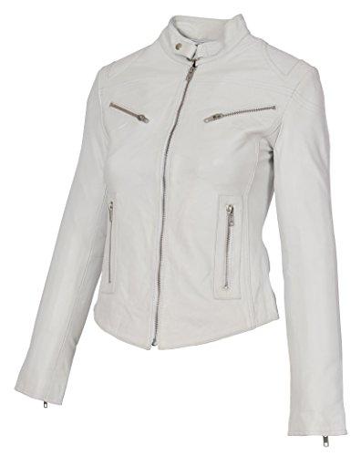 A1productos de moda para mujer ajustado Biker chamarra de piel de pie collar Slim Fit perchero de color blanco diseño de conejo, Blanco, M
