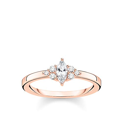 THOMAS SABO Damen Ring Vintage weiße Steine roségold 925 Sterlingsilber, 750 Roségold Vergoldung TR2325-416-14