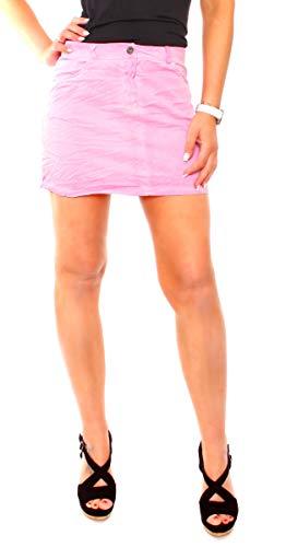 Fragolamoda Damen Stretch Minirock Bleistiftrock Kurz Baumwolle Uni Pink XS - 34 (S)