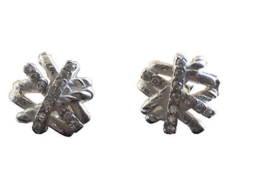 Designer Inspired Real 14K Gold Plated Trippe Coated Sterling Silver Twisted Crossover Stud Earrings (white-gold-plated-brass)