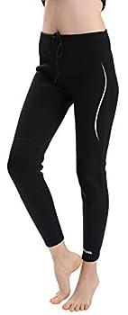 REALON Wetsuit Pants Women Swim Tights 3mm,2mm Neoprene for Men in Cold Water Thermo Leggings Diving Snorkel Surfing Outdoor Sport UV Wet Suits Pant  2mm Men Women s White Stripe XXXL