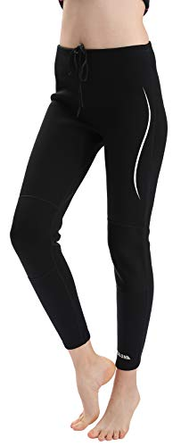 REALON Swim Tights Wetsuit Pants Women 3mm Neoprene and 2mm Men Youth Triathlon Outdoor Sport UV Suit Leggings Girls Boys Surfing Scuba Diving Snorkel (2mm Men Womens White Stripe, M)
