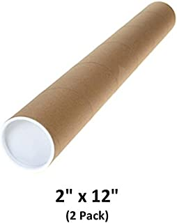 Mailing Tubes with Caps, 2 inch x 12 inch (2 Pack)   MagicWater Supply