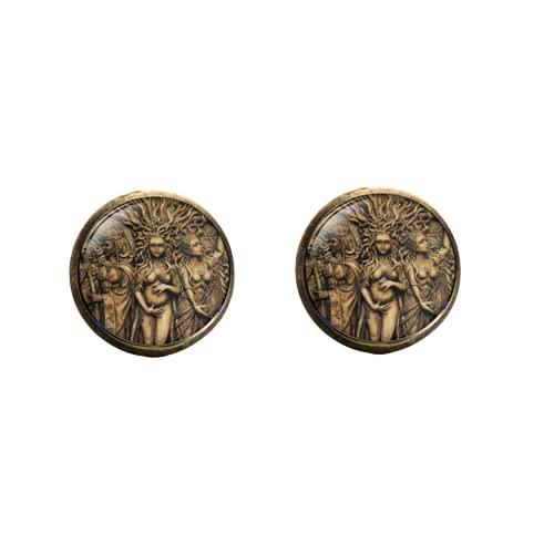 Estatua retro de tres lunas, diosa con efecto 3D, para la oreja,...