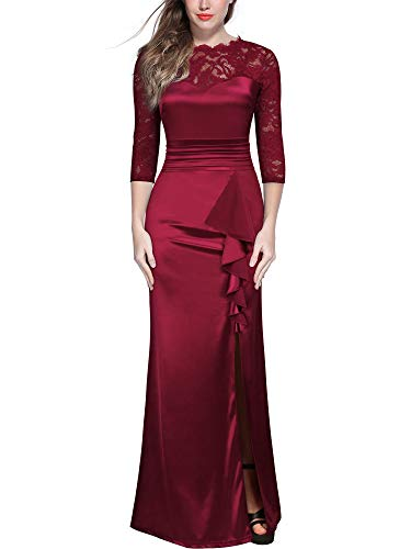 MIUSOL Damen Abendkleid Lang Spitzenkleid Rüschen Brautjungfer Langes Kleider Rot Gr.2XL