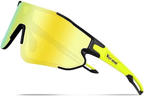XBSXP Gafas de Sol Deportivas polarizadas Protección UV 400 Gafas de Sol de Ciclismo Gafas Deportivas, Negro-Verde