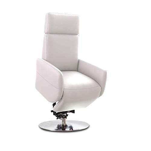 Cavadore TV-Sessel Cobra / Fernsehsessel mit 2 E-Motoren, Akku und Aufstehhilfe / Relaxfunktion, Liegefunktion / Ergonomie L / 71 x 112 x 82 / Echtleder Weiß