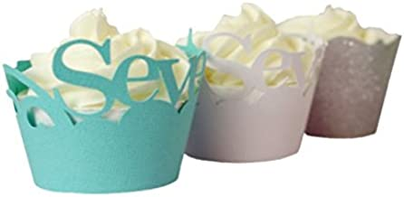 "All About Details Seventy Cupcake Wrappers Kits, Set of 32 (Patina Green, White & Silver), 3"" in top diameter, 2"" in bottom diameter and 1.75"" height"