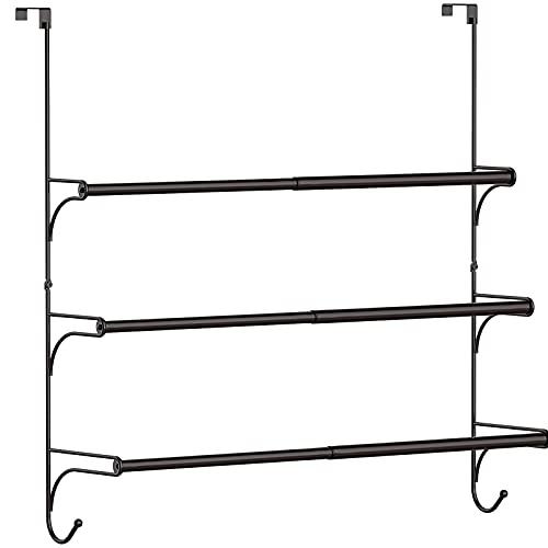 Auledio Adjustable Over The Door Triple Bathroom Towel Holder Rack with Hooks,Brone