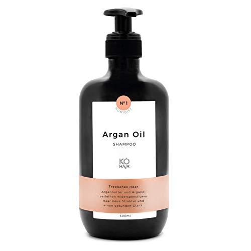 Arganöl Anti-Frizz Shampoo, gesunder Glanz und verbesserte Haarstruktur für krauses und widerspenstiges Haar, mit zartem Koksduft, 250ml oder 500ml, von KÖ-HAIR Klinik