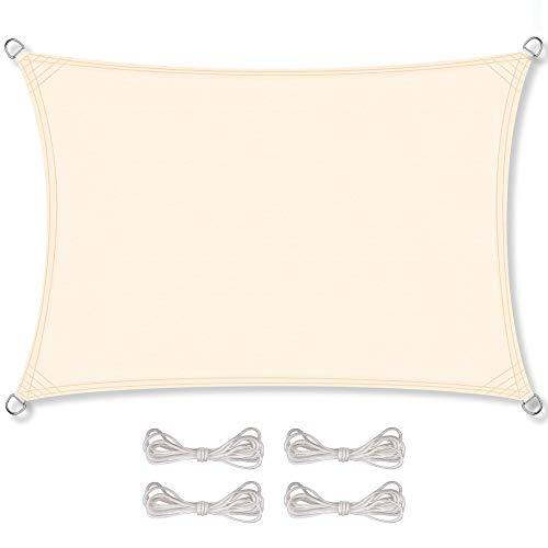 CelinaSun Sonnensegel inkl Befestigungsseile PES Polyester wasserabweisend imprägniert Rechteck 2 x 4 m Creme weiß