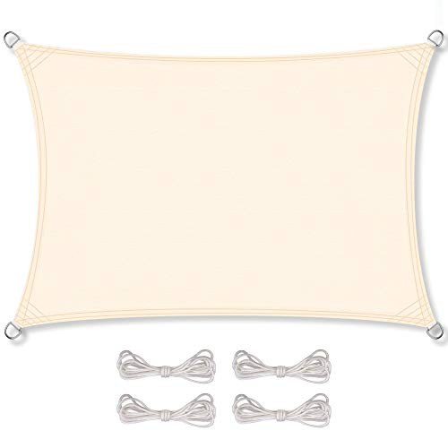 CelinaSun Sonnensegel inkl Befestigungsseile PES Polyester wasserabweisend imprägniert Rechteck 3 x 4 m Creme weiß
